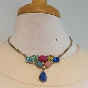 Gold Toned Colorful Statement Necklace